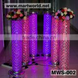 40inches Wedding Aisle silver LED RGB light wedding stages crystal pillars ,wedding stage crystal pillars