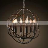 Vintage circular iron rust crystal cage pendant lighta globe-shaped wrought iron frame with candles with beveled-edged crystals