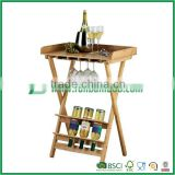 Bamboo table with wine rack and glass holder