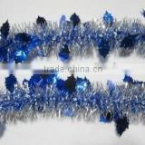 High Quality Christmas Tinsel Garland with Blue Leaf for Tree Decoration