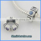 Wholesale Sterling Silver European Spacer Beads With Blue Crystals BCZ32