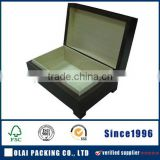 luxury hot sale blue lacquer finish wooden empty golden tea box