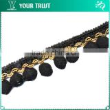 Gold Ball Chain Black Wool Black Cotton Hanging Tassel Trimming