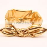 2015 Fashion children gold & sliver rabbit ear headband baby soft knot turban headbands wholesale                                                                         Quality Choice