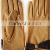 Pig suede lady leather gloves
