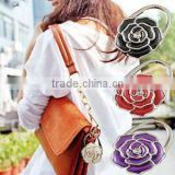 2016 New Rose Flower scarf Folding Purse Handbag Bag Accessories/ Table top bag holder tea bag Hanger