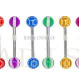 Acrylic barbell tongue ring