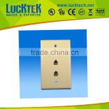 TV smooth wall plate with dual telephone port and TV port faceplate,mounted faceplate
