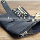 Soft Metal Zipper Leather Key Case Key Holder Car Key Purse Key Bag Key Wallet with Magnetic Closure