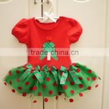 organza tutu dresses red green Christmas baby one-piece suit