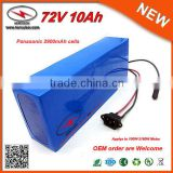 72V DC Battery Charger 20S4P Small Size 72V 10Ah Panasonic Electric Bike Battery with 30A BMS