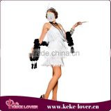 New stylish white elegant costumes for girls sexy sling dark v-net women costumes for party strapless sexy costumes wholesale
