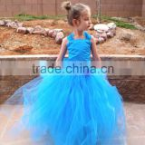 Blue Ruffles Organza Skirt Lace Up Back Custom Flower Girl Dress FGZ27 Cinderella Dresses For Girls