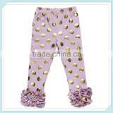 Girls GOLD Spots Triple Ruffle Leggings Baby 3 Ruffle Cotton Pants Kids Sequin Knit Ruffle Pants Polka Dot Ruffle Pants