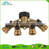 High quality brass water hose pipe 4 way splitter connector with shut off valve