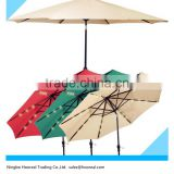 8ft-9ft-10ft Patio Solar Umbrella LED Light Tilt Deck Waterproof Garden Market Umbrella Aluminum Crank Tilt Deck Yard Beach