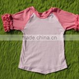 Top quality cotton baby girl plain t- shirt summer children t shirt ruffled matching color baby clothing