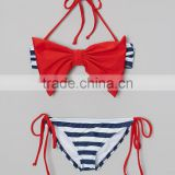 New Style Girl Swimsuit With Blue And Red Bow Bandeau Bikini Girl Beachwear Child Wear G-NP-TR905-322