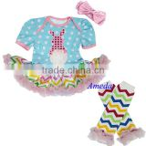 2014 Baby Easter Polka Dots Rosette Bunny Chevron Tutu Romper Warmers Party Dress NB-18M