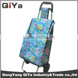 Wholesale Promotional Printed Wheeled Foldable Shopping Trolley Bags Grocery Vegetable Supermarket Shoping Cart