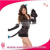 Sexy Halloween day black stain cat suit women cat costume with small pocket