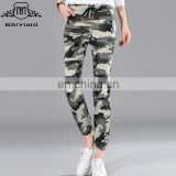 2016 Baiyimo Wholesale Cotton Polyester Women Casual Work Pants Trousers Cheap Army Green Camouflage Cargo Pants