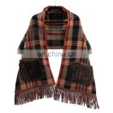 2016 inner mongolian manufacturer wholesale 100% authentic cashmere tartan check plaid scarf winter lady warm pashmina shawl