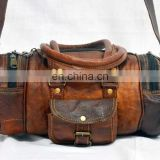 Real Goat Leather Vintage Travel Bag Handmade Gym Duffle Retro Overnight bag Weekend Travel Bag