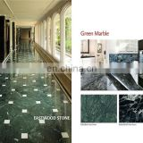 Polished green marble as indoor floor