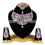 Voylla Intricate Silver Plated Indian Handmade Ethnic Kundan Zerconic Necklace set in Pink Color
