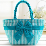 quilted tote bag with bow from China factory