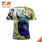 high Quality custom Sublimation short Sleeve MMA Rash Guards with lycra spandex polyester fabric UV protected