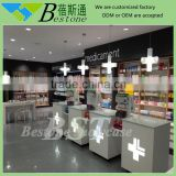 Retail medical store counter design, wood clinic furniture
