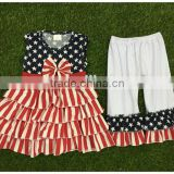 girls boutique summer clothing sets girls July 4th outfits pettiskirt and capris outfits kids clothes