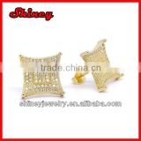 high quality micro paved gold plating white AAA cubic zironia fashion men's earrings