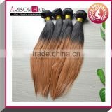 Hot selling two tone ombre remy hair weaving beauty ombre hair extension silk straight ombre hair weave with low price