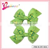 Brand promotion gift hair accessories nice clover ribbon bow hair clips for long hair (SYC-0033)