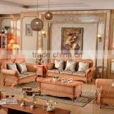 High Quality Indoor Vintage Cane 1+2+3 sofa sets with pillows Rattan Furniture for salon 2015