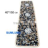 Colorful Natural Pebble Foot Massage Mat 40*150mm White dot pattern blanket Smooth Stone