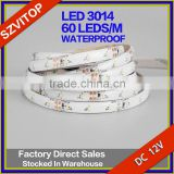 Warm White 3014 IP65 Waterproof 16.4ft (5m) Super Bright Flexible LED Strip Lights 300LEDs DC 12V 10LM/LED