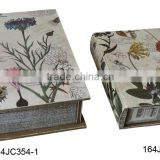 164JC354-1-2 Custom design floral wood book box sets Home decorative book boxes Home goods