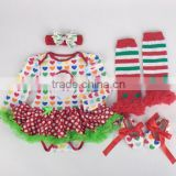 2015 children Chrismas baby long sleeves tutu romper& headbands &shoes and leg warmer sets ( 4 in 1)