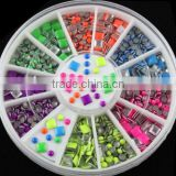 Nail Art Decorations Mix Color 2mm & 3mm Size A Boxed Square & Round Pattern Metal Nail Art For Glitter Manicure Tools
