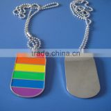 gay pride personalized six color rainbow human metal dog tag necklace