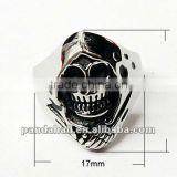 Mens Gothic Punk Rock Stainless Steel Skull Wide Band Rings(RJEW-G002-11)