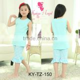 Summer Kids Child Blue Clothes Set Casual Style Teen Girl Soft Clothing Set Baby Girl Kids Clothing Sets