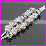 KJL-A080Wholesale Mixed Color Crystal Rhinestone Big Hole Charm Beads Fit Bracelet Chain Jewelry Findings