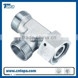 CC-W/CD-W Run Tee Fitting with swivel nut reducer tube adapter with swivel nut male and female thread connector
