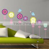 Free shipping Birds Flowers Removable Vinyl Wall Decals Stickers Nursery Kids Room Decor Mural Art Sticker 50*70CM JM8177