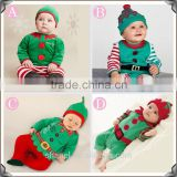 new arrival 2015 Christmas baby rompers boutique clothing christmas stripe clothing rompers